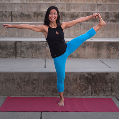 Teresa Le, extended tree yoga pose